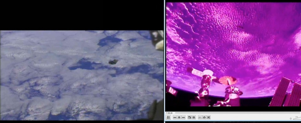 The moment of UPSat deployment, as seen from the International Space Station. UPSat can be seen on the left picture as the black cube near the center of the picture.